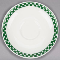 Homer Laughlin 2821708 Green Checkers 6 inch Ivory (American White) Boston Saucer - 36/Case