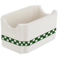 Homer Laughlin 271708 Green Checkers 4 7/8 inch Ivory (American White) Sugar Caddy - 36/Case