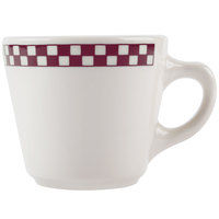 Homer Laughlin 1071791 Maroon Checkers 6.75 oz. Ivory (American White) Virginia Cup - 36/Case