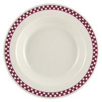 Homer Laughlin 2531791 Maroon Checkers 12.75 oz. Ivory (American White) Rimmed Rolled Edge Soup Bowl - 24/Case