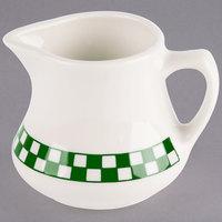 Homer Laughlin 1751708 Green Checkers 5.25 oz. Ivory (American White) Creamer - 24/Case