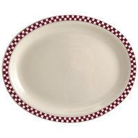 Homer Laughlin 1551791 Maroon Checkers 11 3/4 inch x 8 inch Ivory (American White) Rolled Edge Oval Platter - 12/Case