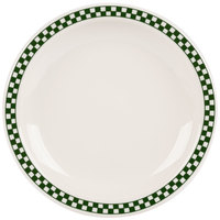 Homer Laughlin 2141708 Green Checkers 8 1/4 inch Ivory (American White) Narrow Rim Plate - 36/Case