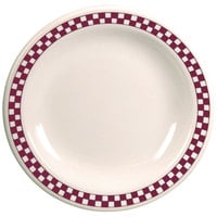 Homer Laughlin 2241791 Maroon Checkers 9 inch Ivory (American White) Narrow Rim Plate - 24/Case