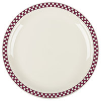Homer Laughlin 2171791 Maroon Checkers 10 1/2 inch Ivory (American White) Narrow Rim Plate - 12/Case