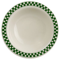 Homer Laughlin 1651708 Green Checkers 3.25 oz. Ivory (American White) Narrow Rim Fruit Dish - 36/Case