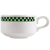 Homer Laughlin 1141708 Green Checkers 13 oz. Ivory (American White) Soup Mug with Handle - 36/Case