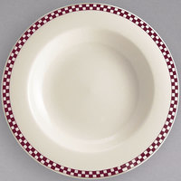 Homer Laughlin 3801791 Maroon Checkers 20 oz. Ivory (American White) Rimmed Rolled Edge Pasta Bowl - 12/Case