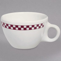 Homer Laughlin 1021791 Maroon Checkers 7.5 oz. Ivory (American White) Ovide Cup - 36/Case