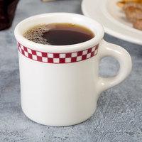 Homer Laughlin 3001791 Maroon Checkers 8.75 oz. Ivory (American White) Mug - 36/Case