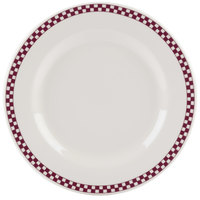 Homer Laughlin 4441791 Maroon Checkers 10 5/8 inch Ivory (American White) Rolled Edge Plate - 12/Case