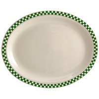 Homer Laughlin 1561708 Green Checkers 12 1/2 inch x 8 7/8 inch Ivory (American White) Rolled Edge Oval Platter - 12/Case