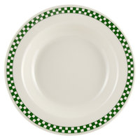 Homer Laughlin 2531708 Green Checkers 12.75 oz. Ivory (American White) Rimmed Rolled Edge Soup Bowl - 24/Case