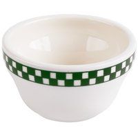 Homer Laughlin 1011708 Green Checkers 7.25 oz. Ivory (American White) Unhandled Bouillon Cup - 36/Case