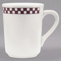 Homer Laughlin 1301791 Maroon Checkers 8.25 oz. Ivory (American White) Denver Mug - 36/Case