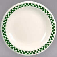 Homer Laughlin 2251708 Green Checkers 9 3/4 inch Ivory (American White) Narrow Rim Plate - 12/Case