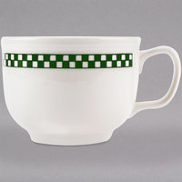 Homer Laughlin 1491708 Green Checkers 18 oz. Ivory (American White) Jumbo Cup - 12/Case
