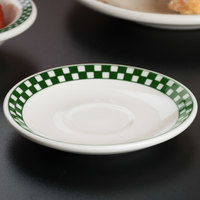 Homer Laughlin 2851708 Green Checkers 4 7/8 inch Ivory (American White) A.D. Demitasse Saucer - 36/Case