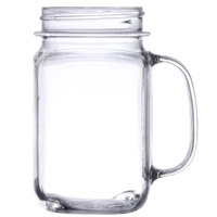 GET MAS-3 CL 16 oz. Clear Polycarbonate Mason Drinking Jar with Handle - 24 / Case