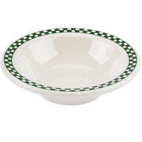 Homer Laughlin 1661708 Green Checkers 4 oz. Ivory (American White) Narrow Rim Fruit Dish - 36/Case