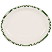 Homer Laughlin 2611708 Green Checkers 13 3/4 inch x 11 1/4 inch Ivory (American White) Narrow Rim Oval Platter - 12/Case