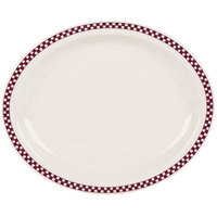 Homer Laughlin 2611791 Maroon Checkers 13 3/4 inch x 11 1/4 inch Ivory (American White) Narrow Rim Oval Platter - 12/Case