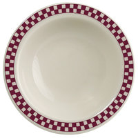 Homer Laughlin 1651791 Maroon Checkers 3.25 oz. Ivory (American White) Narrow Rim Fruit Dish - 36/Case