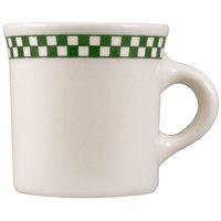 Homer Laughlin 3001708 Green Checkers 8.75 oz. Ivory (American White) Mug - 36/Case