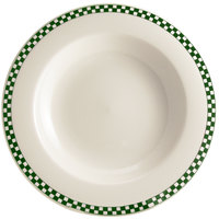 Homer Laughlin 3801708 Green Checkers 20 oz. Ivory (American White) Rimmed Rolled Edge Pasta Bowl - 12/Case