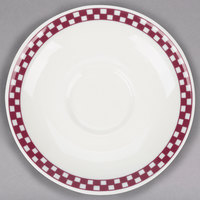 Homer Laughlin 2821791 Maroon Checkers 6 inch Ivory (American White) Boston Saucer - 36/Case