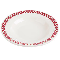 Homer Laughlin 2555413 Scarlet Checkers 6 oz. Ivory (American White) Rimmed Rolled Edge Soup Bowl - 24/Case