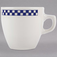 Homer Laughlin 10521790 Cobalt Checkers 10 oz. Ivory (American White) Bistro Cup - 36/Case