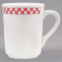 Homer Laughlin 1305413 Scarlet Checkers 8.25 oz. Ivory (American White) Denver Mug - 36/Case