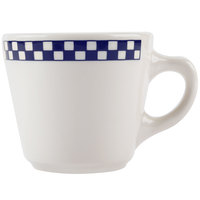 Homer Laughlin 1071790 Cobalt Checkers 6.75 oz. Ivory (American White) Virginia Cup - 36/Case