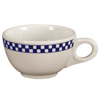 Homer Laughlin 1051790 Cobalt Checkers 7.75 oz. Ivory (American White) Boston Cup - 36/Case