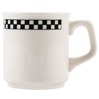 Homer Laughlin 1151636 Black Checkers 9.25 oz. Ivory (American White) Marquis Mug - 36/Case