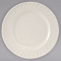 Tuxton MEA-124 Meridian 12 1/2 inch Ivory (American White) Swirl Rim China Plate - 12/Case