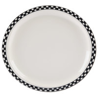 Homer Laughlin 5881636 Black Checkers 11 1/4 inch x 10 1/4 inch Ivory (American White) Newell Plate - 12/Case