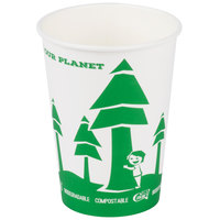 EcoChoice 32 oz. Compostable and Biodegradable Paper Soup / Hot Food Cup with Tree Design - 25/Pack