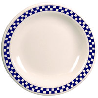 Homer Laughlin 2161790 Cobalt Checkers 9 3/8 inch Ivory (American White) Narrow Rim Plate - 24/Case