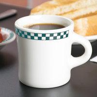 Homer Laughlin 9821789 Turquoise Checkers 13 oz. Ivory (American White) Jumbo 300 Mug - 12/Case