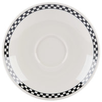 Homer Laughlin 9811636 Black Checkers 8 1/2 inch Ivory (American White) Jumbo Saucer - 6/Case