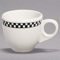 Homer Laughlin 1081636 Black Checkers 3.5 oz. Ivory (American White) A.D. Cup - 36/Case