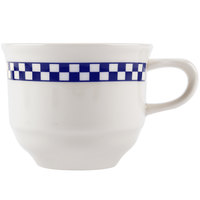 Homer Laughlin 5781790 Cobalt Checkers 11 oz. Ivory (American White) Americas Cup - 12/Case