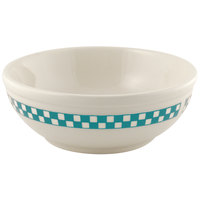 Homer Laughlin 1941789 Turquoise Checkers 11 oz. Ivory (American White) Rolled Edge Nappie Bowl - 36/Case