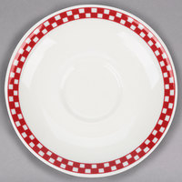 Homer Laughlin 2825413 Scarlet Checkers 6 inch Ivory (American White) Boston Saucer - 36/Case