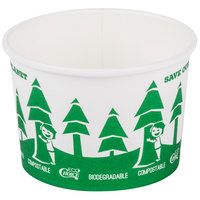 EcoChoice 8 oz. Compostable and Biodegradable Paper Soup / Hot Food Cup with Tree Design - 25/Pack