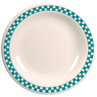 Homer Laughlin 2171789 Turquoise Checkers 10 1/2 inch Ivory (American White) Narrow Rim Plate - 12/Case