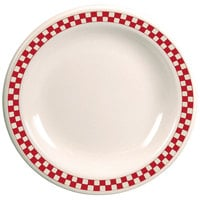 Homer Laughlin 2105413 Scarlet Checkers 12 1/4 inch Ivory (American White) Rolled Edge Plate - 12/Case