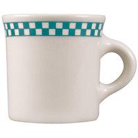 Homer Laughlin 3001789 Turquoise Checkers 8.75 oz. Ivory (American White) Mug - 36/Case